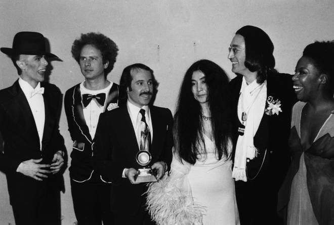 John Lennon and David Bowie, alongside other music stars, at the 1975 Grammy Awards