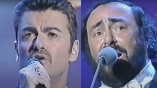 Joining Pavarotti on stage, George Michael was in the city of Modena, Italy to help raise money for charities close to the opera star's heart.