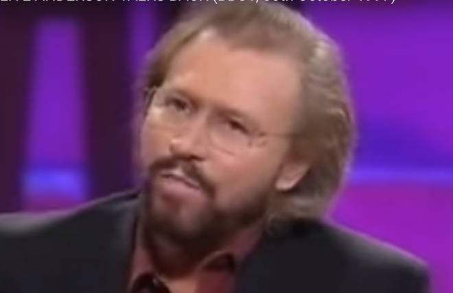 """We&squot;re getting on like a storm, aren&squot;t we Clive"", Barry Gibb says sarcastically, adding: ""In fact I might just leave."" Pictured on the Clive Anderson show in 1997"