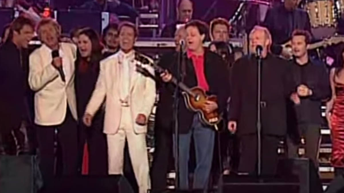 When Queen, the Beatles and Rod Stewart sang spectacular version of 'All You Need Is Love' - video