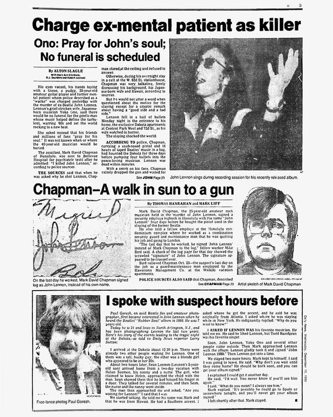 Daily News page 3 dated Dec. 10, 1980, John Lennon and Mark