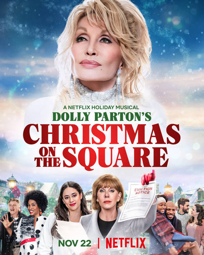 A poster for Dolly Parton's Christmas on the Square Netflix film