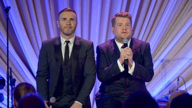 Gary Barlow and James Corden in 2015