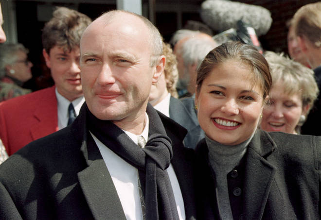Phil Collins and Orianne Cevey in 1997