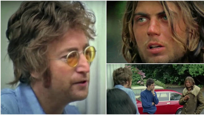 Footage from 1971 shows John Lennon having a conversation with a homeless man who had been living in the singer's garden, as he tries to convince the troubled fan that his famous songs aren't about him.
