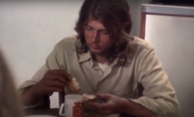 Curt is seen eating soup at the dining room table with John and Yoko at the and of the video