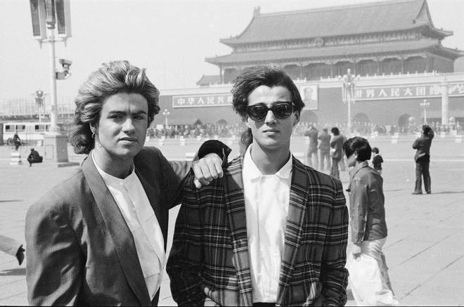 Wham! were the first ever western pop group to perform in the Republic of China, pictured in Tiananmen Square in 1985.
