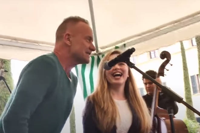 But it seems Sting can't resist joining in, and within moments The Police frontman jumps on stage to sing alongside the startled young performer.