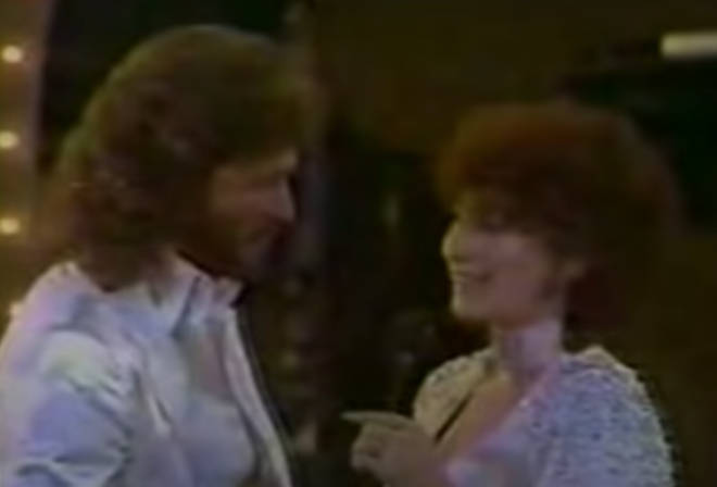 The kiss came just months after the pair released their smash-hit duet 'Guilty', and earlier in the evening Gibb and Streisand had won the Grammy Award for Best Pop Performance by a Duo or Group with Vocal for the historic song.