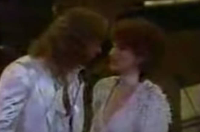 """Then, in a moment that seems completely off script, Barry gently says: """"Give me a kiss"""" and leans forward gently to lock lips with Streisand."""