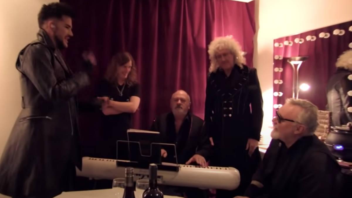 Queen and Adam Lambert harmonising in unseen backstage video is incredible