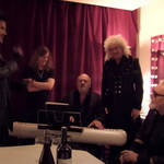 The footage, posted by Queen's official YouTube account, sees Adam Lambert singing with Brian May and Roger Taylor as the trio warm-up before a concert.