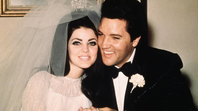 Elvis Presley with bride Priscilla