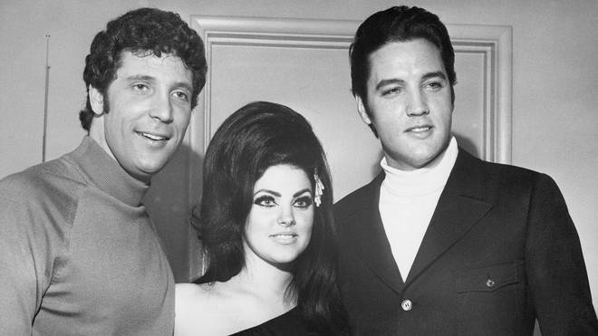 Elvis and Priscilla Presley with Tom Jones in 1968