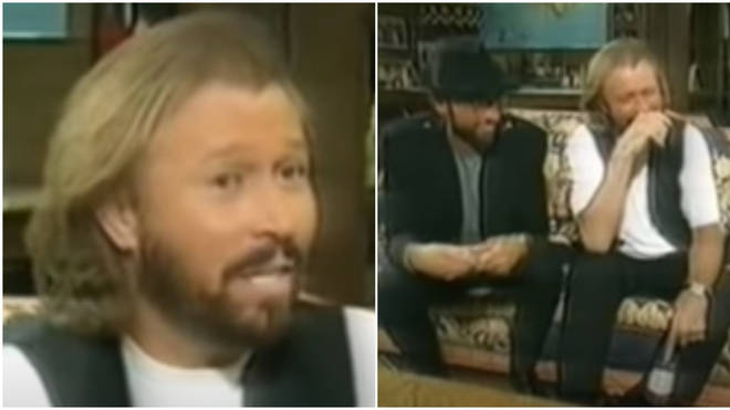 Bee Gees Maurice, Robin and Barry Gibb were being interviewed for NBC when eldest brother Barry got his forefinger stuck in the water bottle he had been absently playing with throughout the segment.