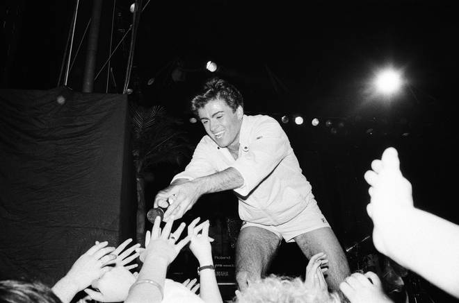 George Michael on stage in 1983