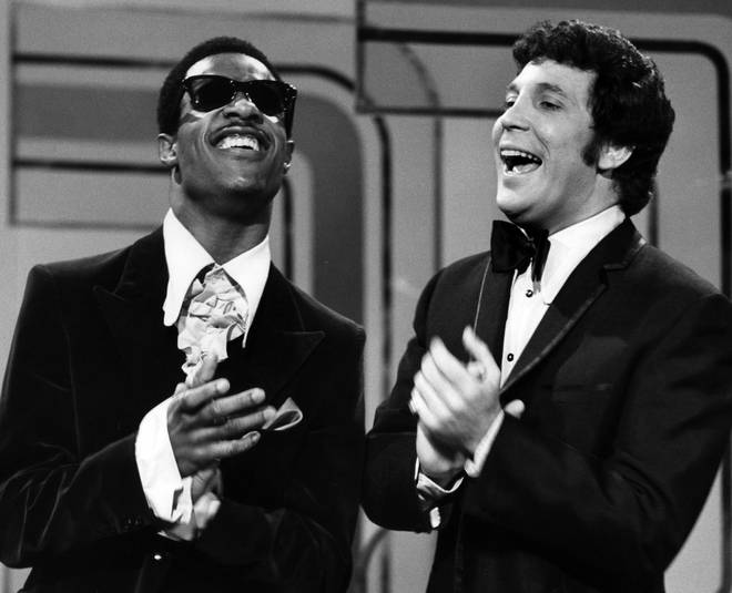 Watch Stevie Wonder and Tom Jones perform a medley of their hits in the late sixties
