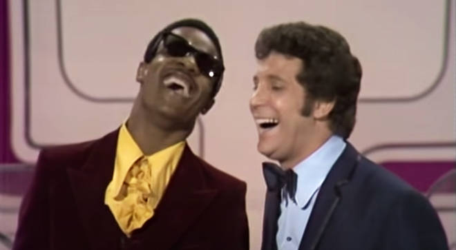Stevie Wonder and Tom Jones sing a medley of their hits in 1969