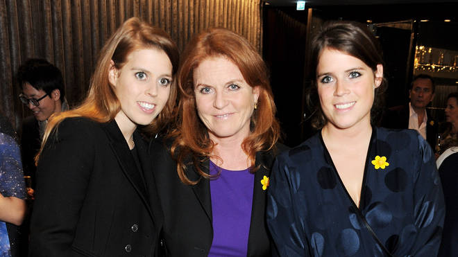 Sarah Ferguson with Princess Beatrice and Eugenie