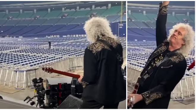 Brian May's guitar solo took place during Queen's soundcheck before the band took the stage at Japan's Nagoya Dome stadium on 20 January, 2020.