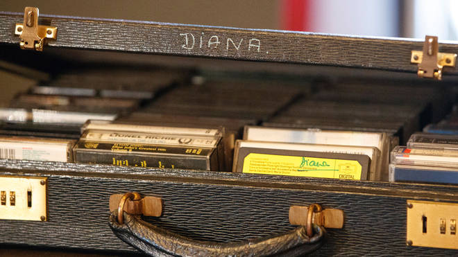 A case of cassette tapes that belonged to Britain's Diana, Princess of Wales, containing albums by singers Diana Ross, Elton John and George Michael