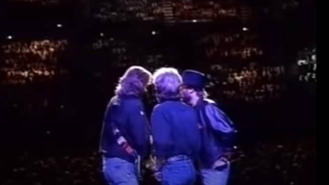 The Bee Gees were on their One For All tour of Australia when they performed the stripped back medley live, showcasing the pitch of their natural singing voices.