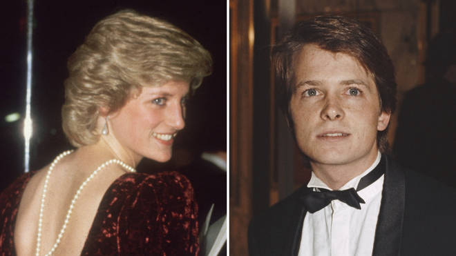 Princess Diana and Michael J Fox at the UK premiere of Back to the Future in 1985