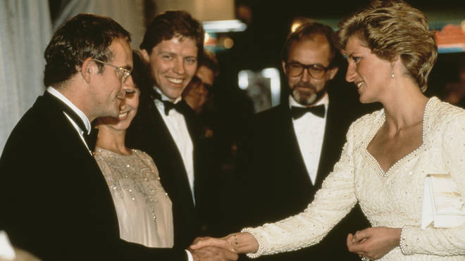 Princess Diana meeting Michael J Fox's co-stars including Christopher Lloyd at the Back to the Future Part III premiere in 1990