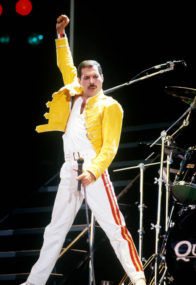 What could have just been a spine-tingling few moments turned into an entire 6 minutes, as the massive crowd sang every lyric word-perfectly of the famous song. Pictured, Freddie Mercury on stage at Live Aid July 13, 1985