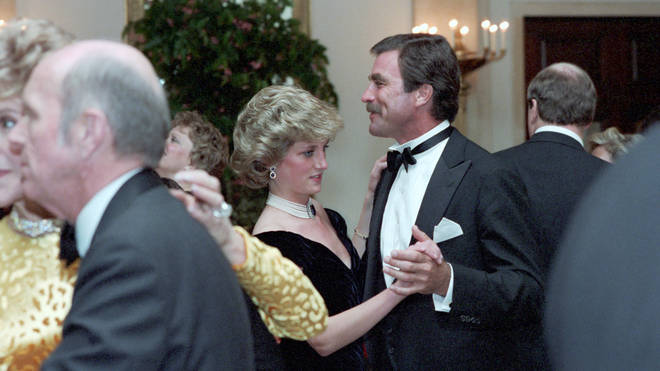 Diana danced to some of Travolta's biggest hits from the Saturday Night Fever soundtrack and 'You're The One That I Want' from Grease, before Hollywood star, Tom Selleck, cut in for a waltz with the princess.
