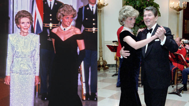 Princess Diana danced with Ronald Reagan at the November 9, 1985 gala dinner. Pictured (left) with Nancy Reagan and (right) dancing with President Reagan.