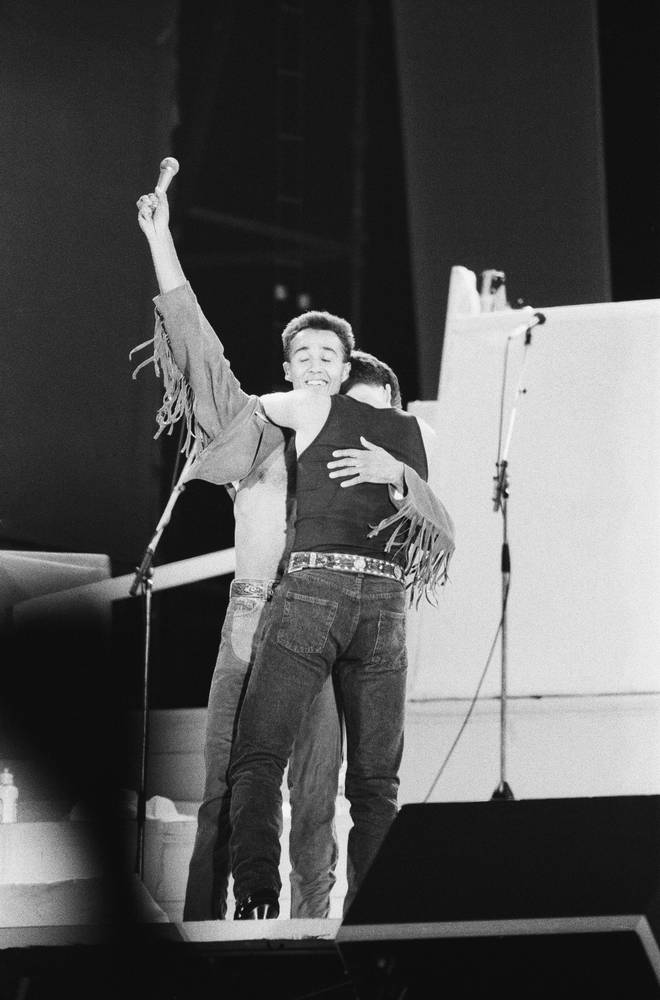 George Michael and Andrew Ridgeley embraced at the end of The Final concert at Wembley on June 28, 1986