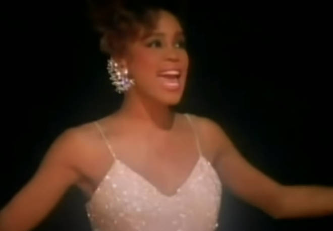 Filmed at Harlem's Apollo Theater in New York City, the music video shows Whitney (pictured) as an adult performer preparing to sing in front of an audience, who then has flashbacks of her time at a talent show as a young performer.