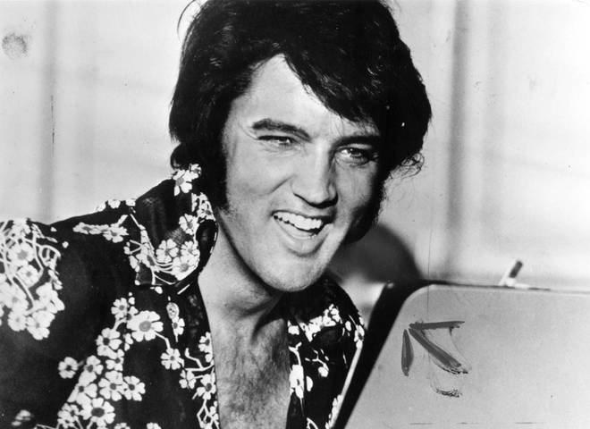 """Dolly Parton said if she could have a """"last conversation"""" with anyone in history, it would be Elvis Presley. Pictured, The King in 1975."""