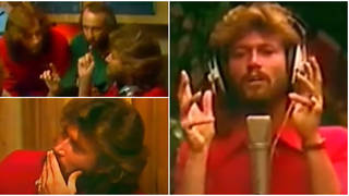The Bee Gees were composing and recording 'Tragedy' at Critera Studios, Miami in 1978 when the rare footage was recorded.