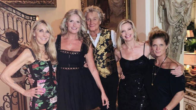 Pictured (left the right, below) Alana Stewart, current wife Penny Lancaster, Rod Stewart, Kelly Emberg and Rachel Hunter at Kimberly Stewart's 40th birthday.
