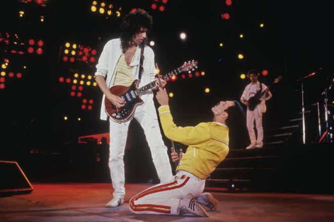 Angelina's audition comes hot on the heels over other young performers who have wowed with Queen songs on TV talent shows in 2020. Pictured, Freddie Mercury and Brian May of Queen at Wembley Stadium in 1986.