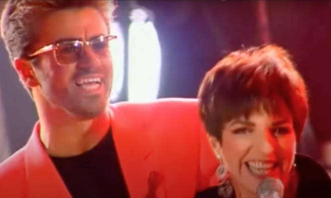 The Cabaret star took to the stage joined by Queen's Brian May on guitar, John Deacon on bass and Roger Taylor on drums and sang part of the sing with George Michael (pictured)