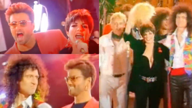 Queen, George Michael, Seal and Liz Minelli were just some of the stars on stage for the closing performance of the Freddie Mercury Tribute concert singing a stunning ensemble version of 'We Are The Champions.'