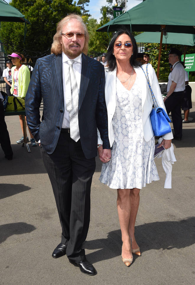 Barry Gibb and wife Linda attend day ten of the Wimbledon Tennis Championships at Wimbledon on June 27, 2016