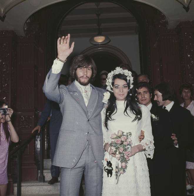 """We can talk to each other about any single instance in our lives and what happened to the group and she was there."" Pictured, Barry and Linda's wedding on September 1, 1970."