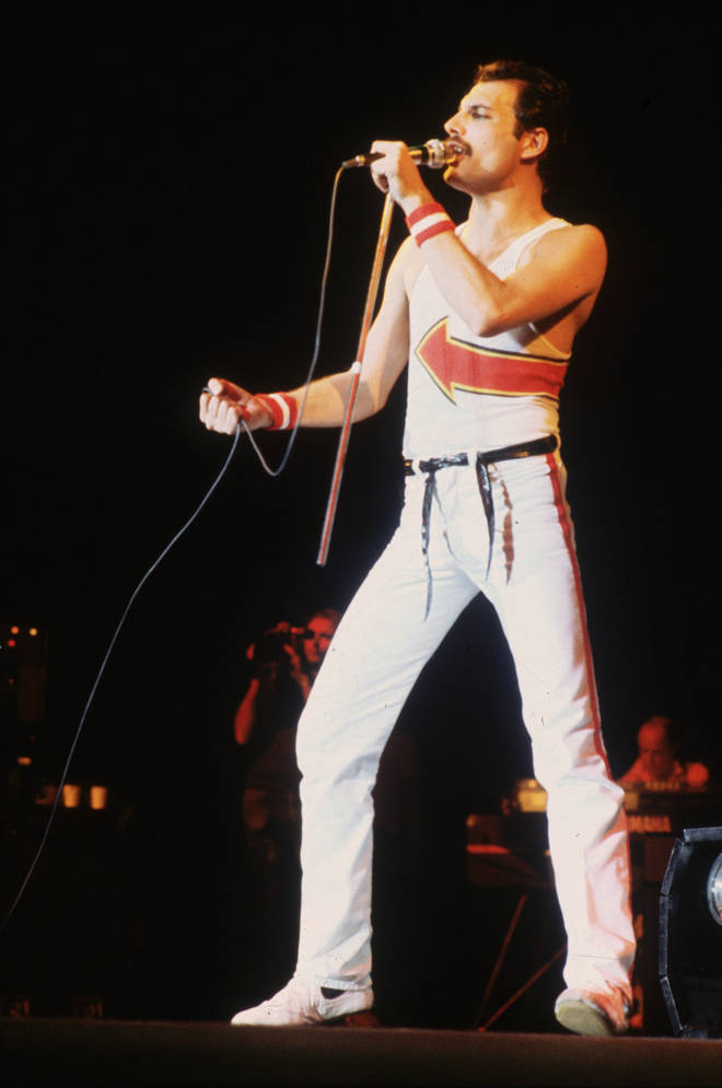 """""""We&squot;ve come up with something in the dressing room, we&squot;ve never ever done it before,"""" Freddie can be heard saying to the excited crowd on the audio. (Pictured in 1982)"""
