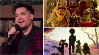 It's not everyday you see the lead singer from one of the world's greatest rock bands sings a Christmas classic accompanied by Disney characters. Pictured Adam Lambert, The Muppets and Winnie the Pooh