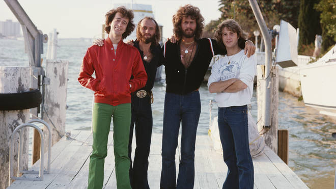 Months before his death in 1988, the Bee Gees announced Andy Gibb would be officially joining their group as the fourth member of the group. (L to R) Robin, Maurice, Barry and Andy Gibb.