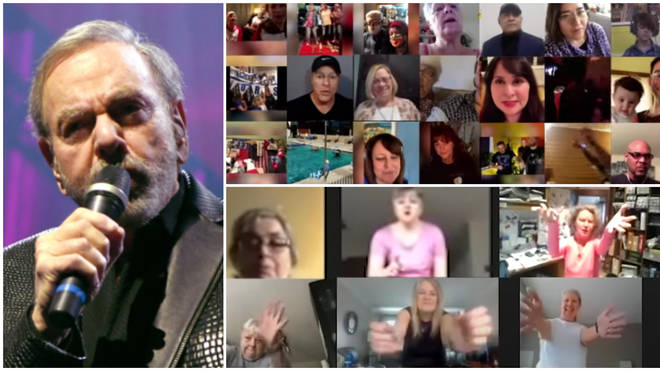 Neil Diamond set the challenge a few weeks ago and from November 20 to December 4 asked fans worldwide to submit videos through a specially made website.