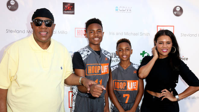Stevie Wonder with former partner Kai and their children Kailan and Mandla