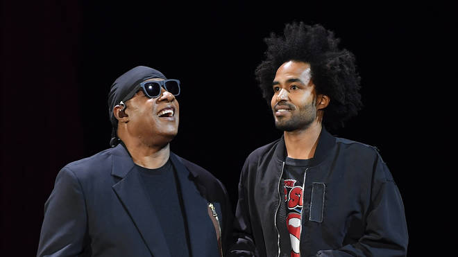 SStevie Wonder with son Kwame in 2017