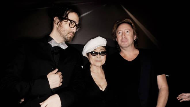 Sean (left), Yoko Ono and Julian (right)