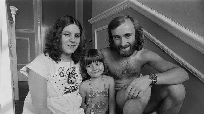 Phil Collins with first wife Andrea Bertorelli and daughter Joely
