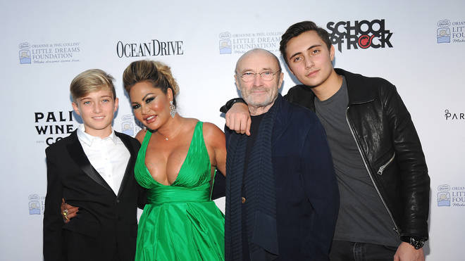Phil Collins with third wife Orianne Cevey and their sons Matthew (left) and Nicholas (right)